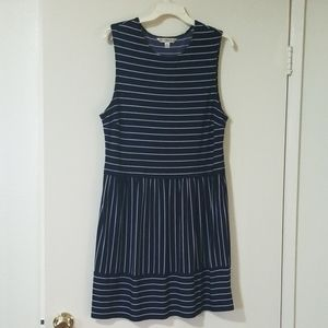 Navy Blue White Striped Dress Stretch